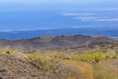 Landscape aerial scene of sierra negra, a volcanic environment located in Isabela island, Galapagos, Ecuador Stock Photo