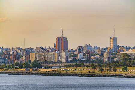 Cityscape day scene at Montevideo city, Uruguay