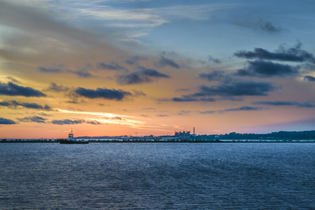 Bay scene at sunset time in Montevideo city, Uruguay Banco de Imagens