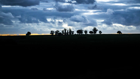 High contrast photo meadow sunset landscape scene at Uruguay