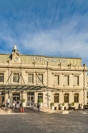 MONTEVIDEO, URUGUAY, FEBRUARY - 2016 - Exterior facade of Punta Carretas shopping mall at Montevideo city, Uruguay Editorial