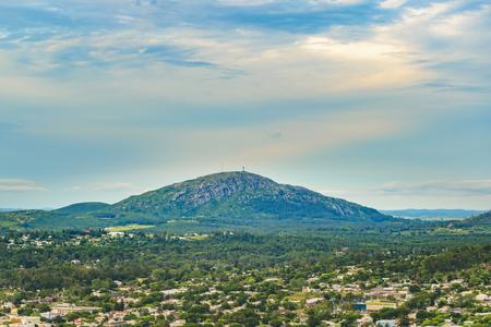 Uruguayayn landscape aerial scene with Pan de Azucar hill as the main subject