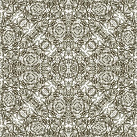 Digital collage technique modern baroque ornate seamless pattern mosaic design in silver tones