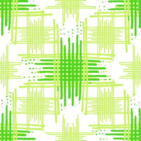 Digital art style intersectin linear motif abstract geometric seamless pattern design in green and white colors Stock Photo