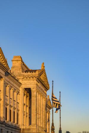 Exterior view of neoclassical style legislative building of Uruguay.