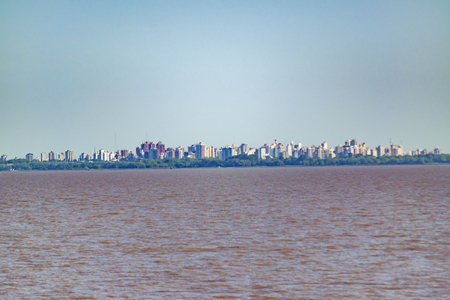 Buenos Aires cityscape view from ferry point of view