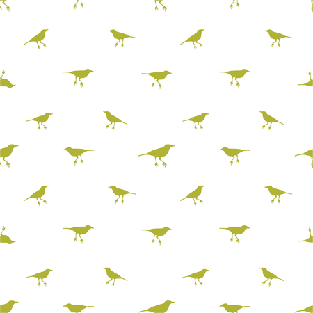 Conversational seamless pattern design with birds silhouette graphic motif in olive and white colors Banco de Imagens