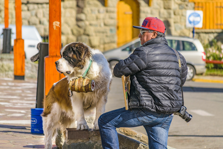 BARILOCHE, ARGENTINA, APRIL - 2017 - Mature man with san bernard dog a square in bariloche city, Argentina