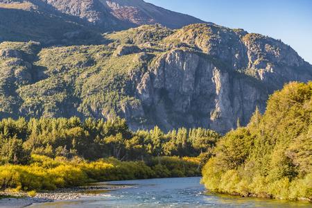 Andes mountains and lake landscape scene at San Carlos de Bariloche, Neuquen province, Argentina