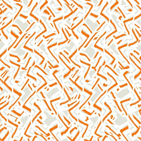 Abstract wavy intricate linear seamless pattern design in orange and grey colors against white