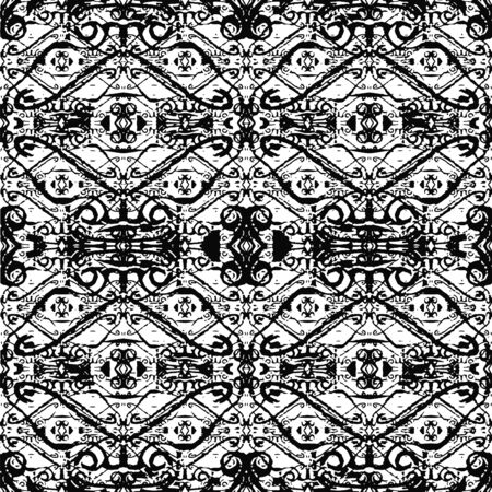Digital collage technique ornate seamless pattern design in black and white colors
