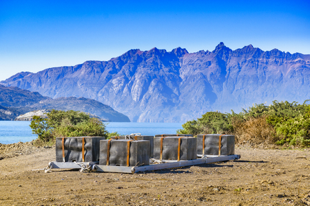 Andes mountains and lake landscape scene at Aysen district, Patagonia, Chile