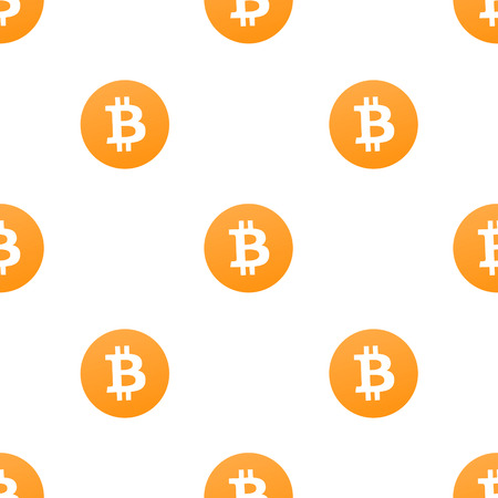 Bitcoin icons motif seamless pattern design in orange and white colors Stock Photo