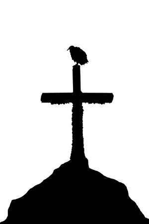 Low angle shot bird over cross graphic silhouette illustration Banco de Imagens