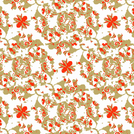 Digital art technique decorative motif seamless pattern design in warm tones against white