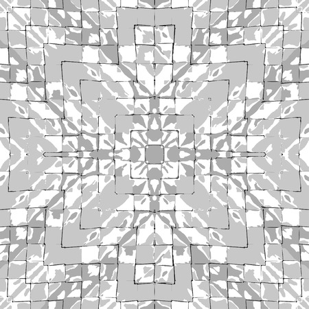 Digital abstract geometric seamless pattern mosaic design in grey and white colors