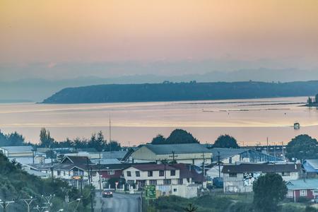 Lake and hill landscape scene at chiloe island, chile