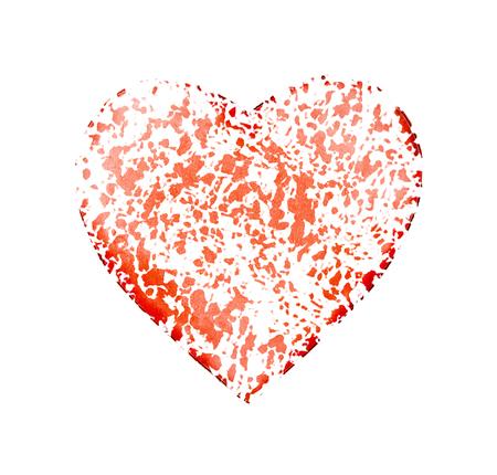 forma de corazón de forma agrietada aislada sobre fondo blanco