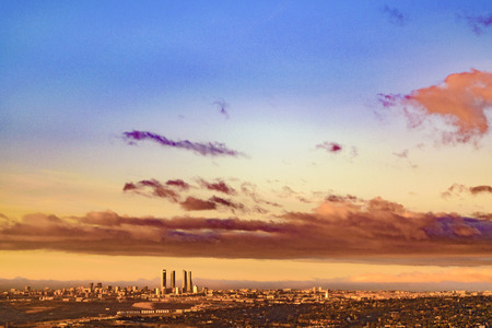 Sunrise scene aerial view from window plane of Madrid city, Spain Stock Photo
