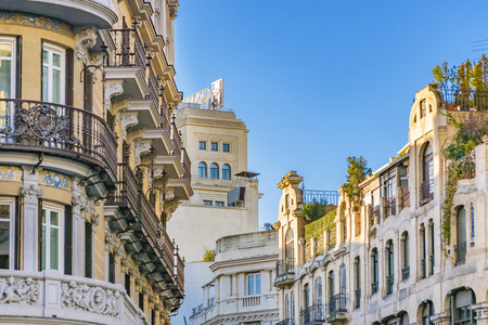 Low angle view of eclectic style buildings at Madrid city, Spain