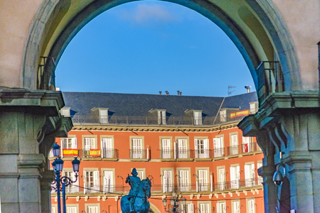 Low angle view of plaza mayor building at Madrid city, Spain