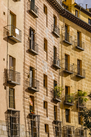 Low angle view of old stylea partment buildings at Madrid city, Spain