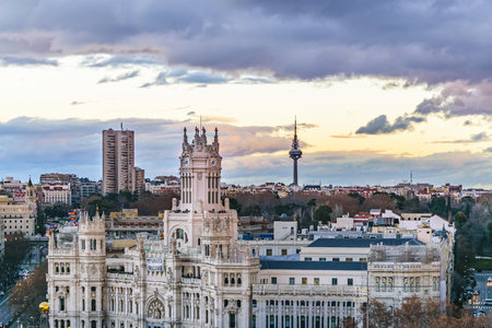 Aerial view of Madrid city from fine arts circle viewpoint bar. Stock Photo