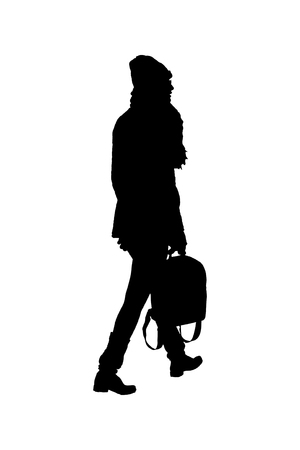 Graphic silhouette woman walking carrying a bag isolated against white background Фото со стока