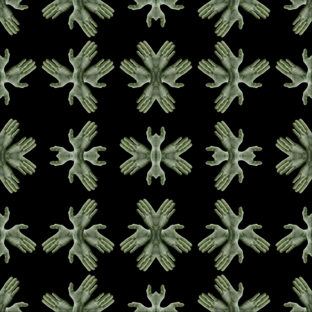Conversational seamless pattern design with hands collage photo motif in green and black colors
