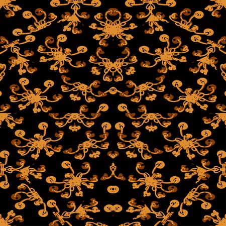Digital art technique vintage swirls ornate seamless pattern design in dark orange tones against black Stok Fotoğraf