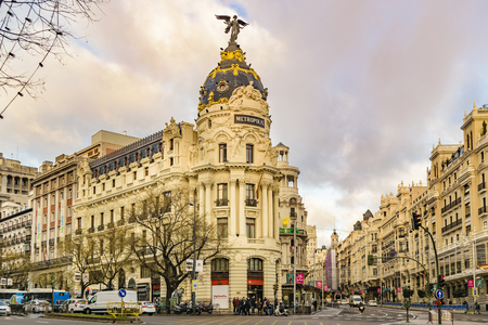 MADRID, SPAIN, DECEMBER - 2017 - Urban day scene at famous gran via street in Madrid city, Spain Editorial