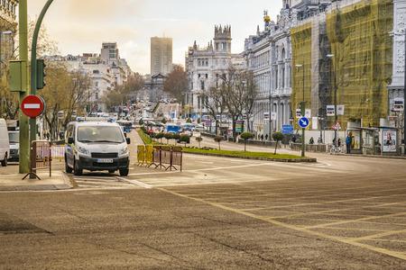 MADRID, SPAIN, DECEMBER - 2017 - Urban day scene at famous gran via street in Madrid city, Spain Editoriali