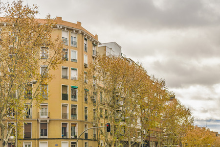 Low angle view of apartment buildings at Madrid city, Spain Banco de Imagens