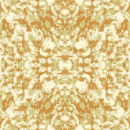 Digital art technique decorative stylized floral print motif seamless pattern design in bright warm and white tones. Stock Photo
