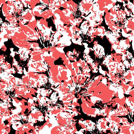 Digital collage technique decorative floral print design in high contrast tones