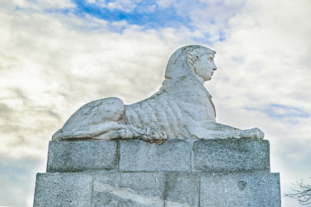 Effigy sculpture at El Retiro historic gaden park, the biggest attraction park of Madrid city, Spain Editorial