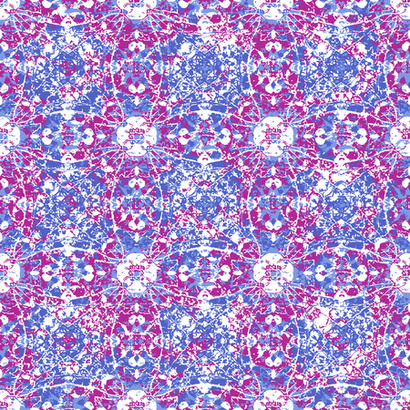 Digital art technique cracked ornate decorative ornate seamless pattern design in vivid magenta and blue colors