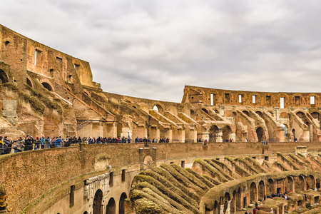 ROME, ITALY, DECEMBER - 2017 - Interior view of roman famous landmark coliseum stadium at winter time in Rome city, Italy