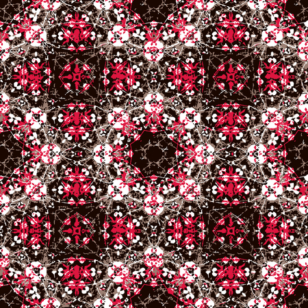 Luxury decorative abstract geometric oriental ornate seamless pattern design in mixed high contrast tones 스톡 콘텐츠