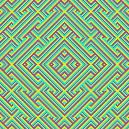 Digital art technique geometric intricate abstract seamless pattern design in mixed saturated colors