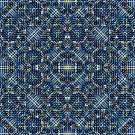 Digital technique squares and circles motif decorative geometric ornate seamless pattern design in blue colors Imagens