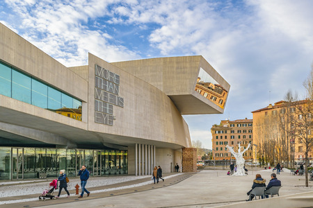 ROME, ITALY, JANUARY - 2018 - Exterior view of maxxi building, a national museum of contemporary art and architecture in the Flaminio neighborhood of Rome, Italy. Reklamní fotografie - 97342798