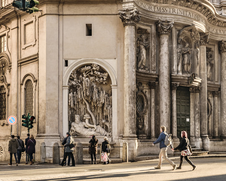 ROME, ITALY, JANUARY - 2018 - Exterior view of San Carlo alle Quattro Fontane Church, a famous baroque building designed by Borromoni.