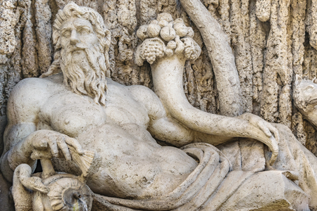 Detail view of one of four famous quattro fontane sculpture group located in Rome city, Italy Foto de archivo