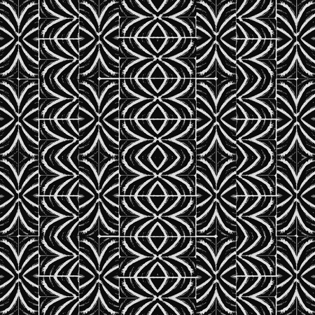 Digital art technique abstract geometric ethnic or tribal style seamless pattern design in black and white colors
