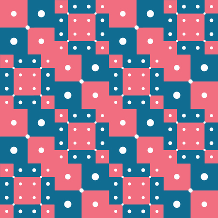 Digital art style technique abstract geometric seamless pattern background design in pink and blue colors