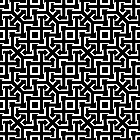 Digital art technqiue abstract geometric intricate seamless pattern design in black and white colors