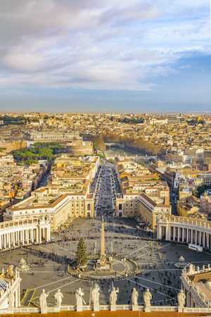 Aerial cityscape view Rome piazza saint peter from saint peter basilica viewpoint.
