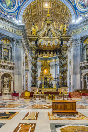 Interior view of st peters basilica,  the most famous catholic italian church located in Vatican city.