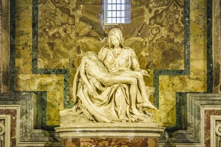 La pieta sculpture, one of the most famous michelangelo masterpiece artwork located in st peters bailisica at Vatican city.